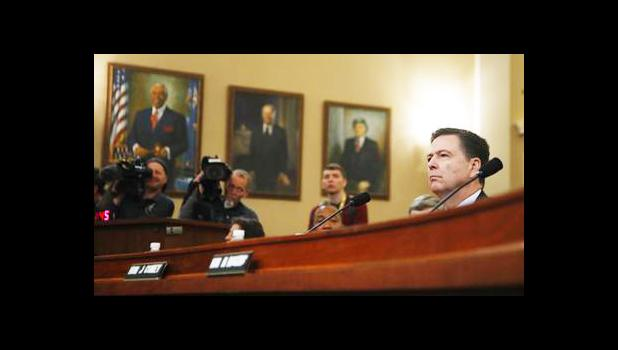 FBI Director James Comey testifies on Capitol Hill in Washington, Monday, March 20, 2017, before the House Intelligence Committee hearing on allegations of Russian interference in the 2016 U.S. presidential election. (AP Photo/Manuel Balce Ceneta)