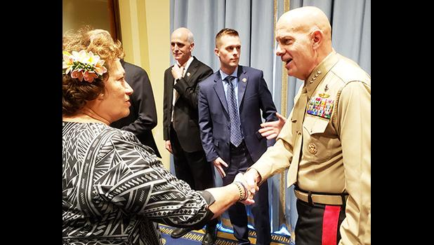 Congresswoman Amata greeting Commandant of the Marine Corps Gen. David Berger