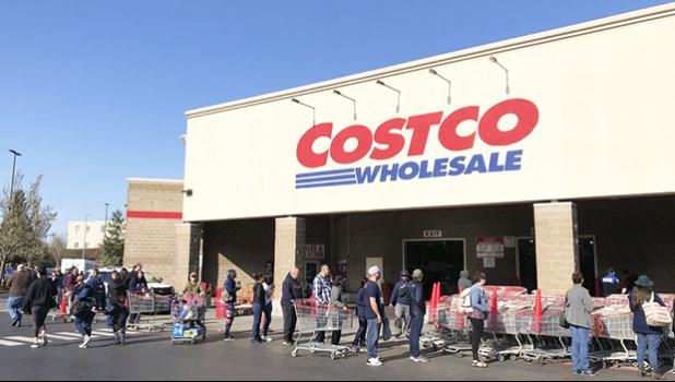 Line of shoppers outside a Costco