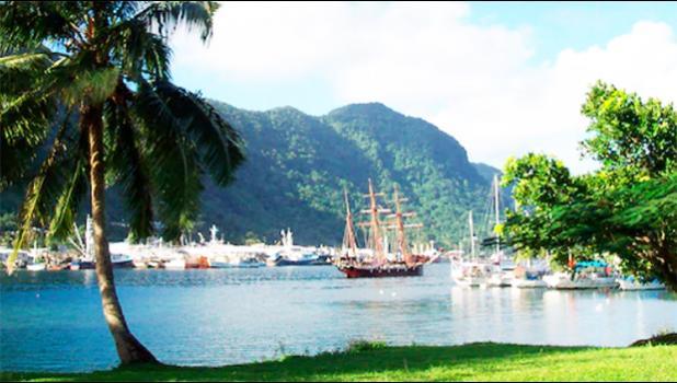 A sailing ship in the harbor at Pago Pago, American Samoa, in 2012.