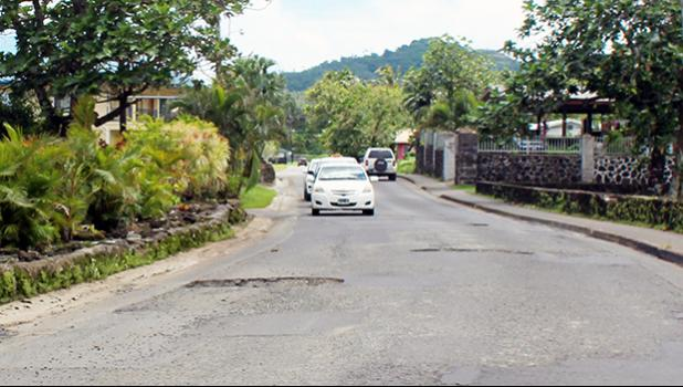 Potholes on the Fagaima road