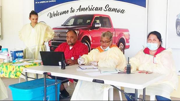 a team from the local Dept. of Health is stationed at the Pago Pago International Airport