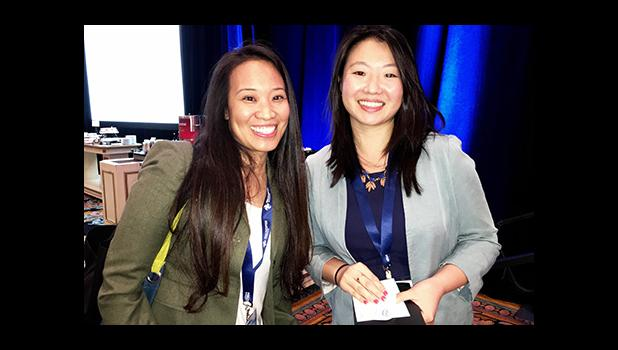 """Jan Pascual, an IT professional and aspiring drone professional, enjoyed a private chat with one of InterDrone 2016 """"Women in Drones"""" luncheon speakers, Natalie Cheung, UAV Product Manager, Perceptual Computing Group Intel Corporation at the events conclusion.  [Photo: Barry Markowitz]"""