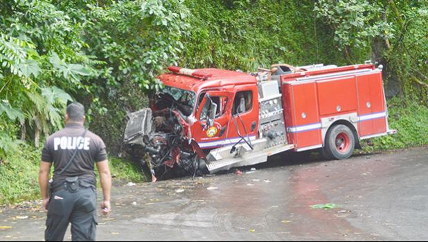 Firetruck that crashed on Afono road.