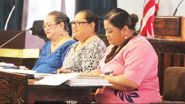 Local Education Department acting director Dr. Roxanne Suaava Salavea along with Office of Budget and Planning director (center), Catherine A. Saelua (left) and Human Resources director, Lynn Pulou-Alaimalo
