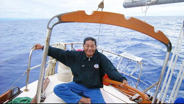 Korent Joel pictured on a navigation teaching trip in the mid-2000s in the Marshall Islands. Mr Joel was one of only a handful of Marshall Islanders who still know traditional wave and star navigation. [Photo: Supplied / Alson Kelen via RNZI]