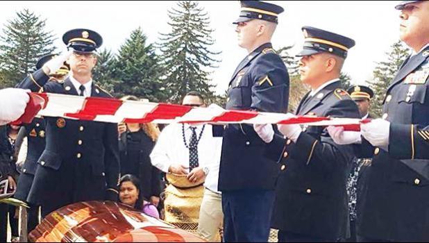 Former American Samoa Congressman Faleomavaega Eni Hunkin was laid to rest at the Provo Cemetery in Provo Utah on Sunday with full military honours for the Vietnam War veteran. [Photo: Leafaina Tavai Yahn]