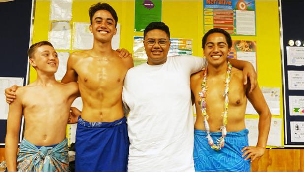 St Peter's College Samoan Polyfest group members Abe Golds-Uili (left), William Morrison, Eddie Tongalahi, and Caerwyn Tomuli Liuliu-Afoa. [Photo: RNZ / Laura Tupou]