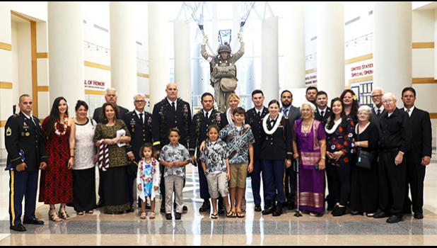 Family members and friends of retired CW5 Taufaga'afa Lincoln P. Glenister