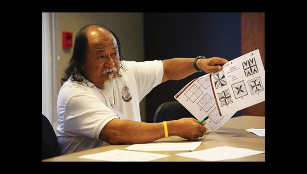 Le Fetuao Art Teacher Sau Ueligitone shares some of the lesson plans that he uses to teach art and Samoan language. These lessons are a part of the curriculum that Le Fetuao compiled and is sharing to help encourage other communities to start their own Āʻoga Samoa.  [Courtesy Photo]