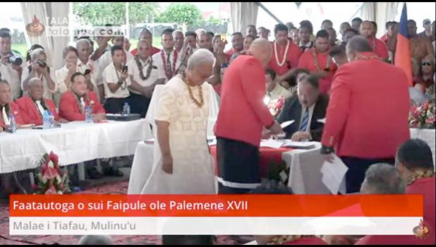 Fast Party leader Fiame Naomi Mata'afa just after the swearing in