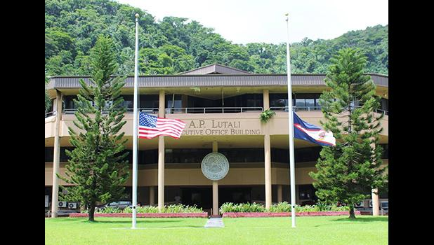 Flags in front of the American Samoa Executive Office Building