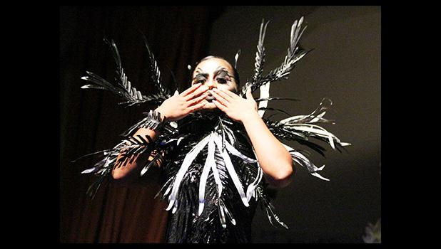 Newly crowned Miss Flowers Sophie McMoore blowing a kiss to the crowd during her Creature Couture category during the Miss Flowers Pageant held last Saturday evening, at the Gov. H. Rex Lee Auditorium in Utulei.  [photo: TG]
