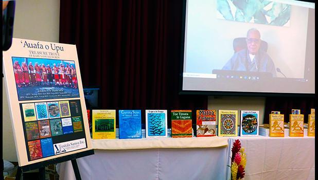Author and Samoan orator, Fofo I.F. Sunia appeareing on screen via VTC