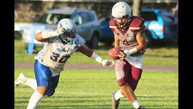 A Tafuna Warriors wide receiver hauling in this catch