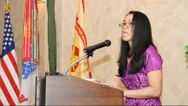 """Cpl. Naomi Sautia-Pomele, executive assistant to the commander of the 548th Combat Sustainment Support Battalion, 10th Mountain Division Sustainment Brigade, is a native of American Samoa and spoke about the theme of """"Unit Our Vision By Working Together"""" during the Asian American and Pacific Islander Heritage Month Observance on May 16 at Fort Drum, New York. [Michael Strasser, Fort Drum Garrison Public Affairs]"""