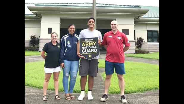 (l-r): MSG Sheri Hoddle, Tauaitala Leasiolagi (the first Am Samoan 2020 National Guard enlistment), Fotuoatua Afioa'e, and ORARNG American Samoa recruiter SFC Steve Mann