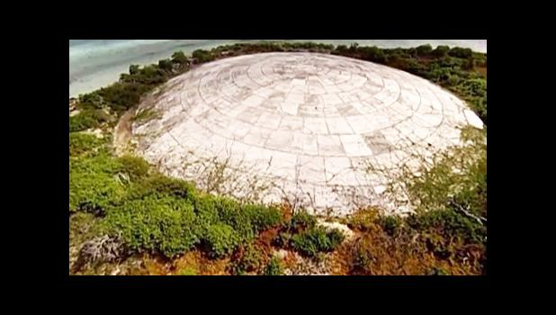 Photo of containment of nuclear waste in the Marshall Islands.