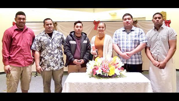 Pictured l-r: PFC Konelio Feagiai-Tua of Aasufou & Fagasa; SGT Taulafoga Vaina of Amouli; PFC Kevin David of Pohnpei, Micronesia; SGT Charlene Beverley of Nu'uuli; SPC Utuifeau Mauga of Fatu ma Futi & Aoa; and PV2 Maoa Mailo of Masausi.