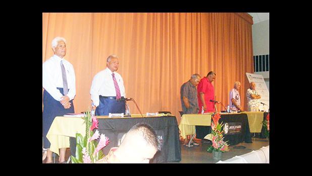 The three gubernatorial teams at last Thursday evening's gubernatorial forum hosted by the American Samoa Bar Association. [photo: FS]