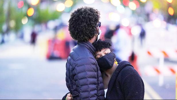 A couple dances at Black Lives Matter Plaza near the White House