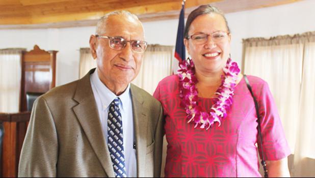 Sen. Soliai Tuipine Fuimaono (left) and District Court Judge, Gwen Tauiliili-Langkilde (right)