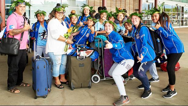 The American Samoa National U-19 Women's Indoor Handball Team and officials