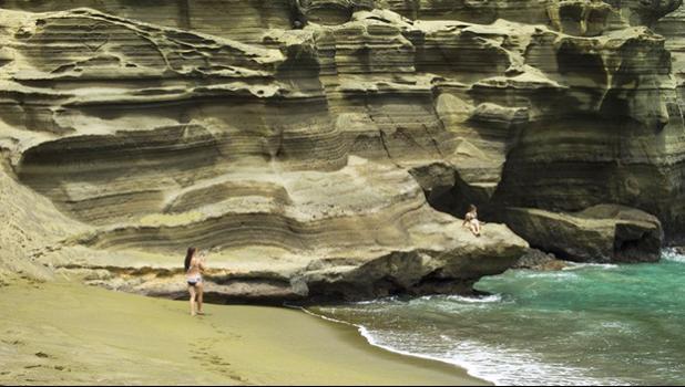 Papakolea green sand beach on the Big Island of Hawaii