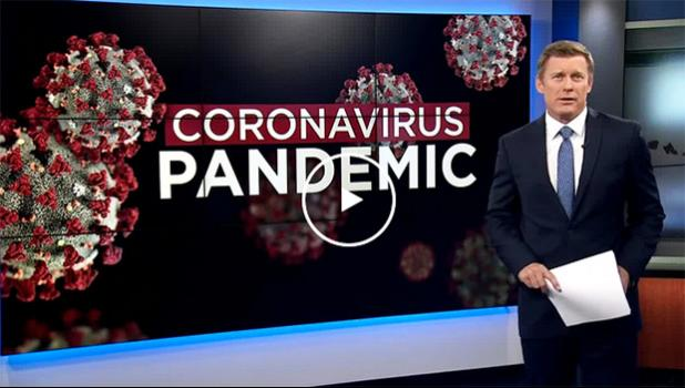 Screenshot from Hawaii News Now 5 p.m. Friday news with reporter in front of coronavirus graphic