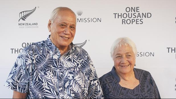 """Head of State Tupua Tamasese Efi and his masiofo attended the red carpet event last Thursday evening in Apia, Samoa — the premiere of the new Samoan film, """"One Thousand Ropes,"""" directed by Tusi Tamasese. The Head of State told Samoa News during an interview after the premier, """"This movie was very authentic… lots of truths…""""   [photo: Ese Malala]"""