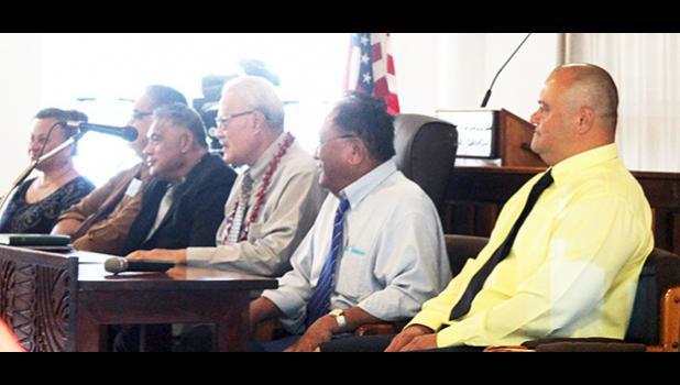 Health Department deputy director, Fara Utu, DoH Clinical director Dr. Saipale Fuimaono, acting Health director Motusa Tuileama Nua, Secretary of Samoan Affairs Mauga T. Asuega, LBJ hospital chief executive officer Faumuina John Faumuina, and DoH Senior Epidemiologist, Dr. Aifili John Tufa