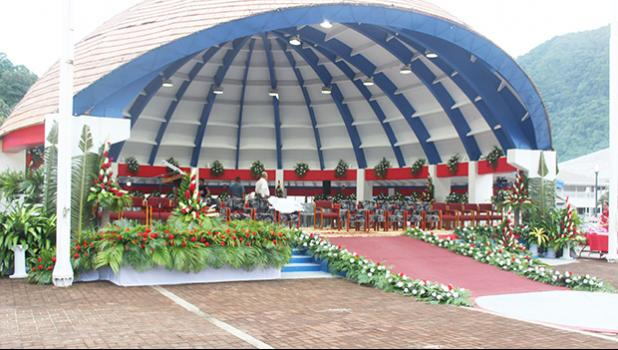 Final touches and inspections were carried out around 7a.m. today, Jan. 3, 2021 at the Fagatogo Pavilion stage at the Malae le Talu in Fagatogo for Inauguration Day