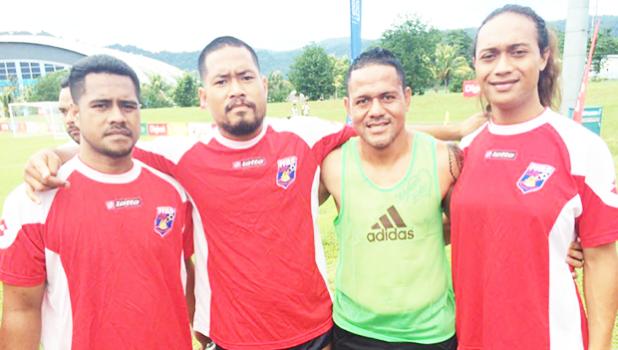 Nicky Salapu and Jaiyah Saelua with other American Samoa players