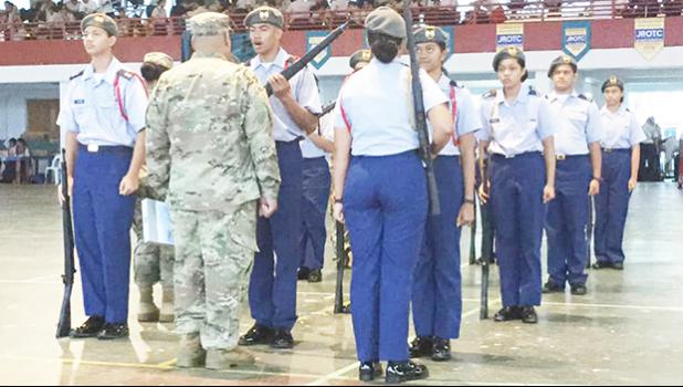 Drill team during competition