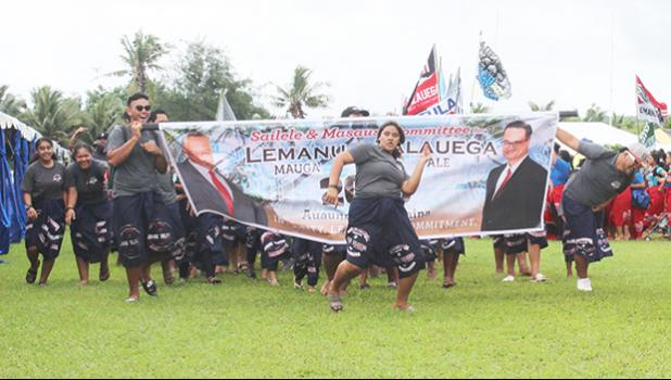 The Sailele & Masausi village committee to elect Lemanu and Talauega on the field at Veterans Stadium