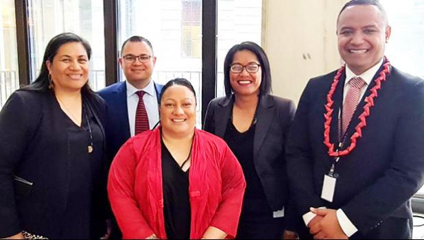 (L-R) Lemauga Lydia Sosene who will have her results by Nov. 6; along with those who won their elections — Tangi Utikere, Terisa Ngobi, Barbara Edmonds, and Dr Anae Neru Leavasa.