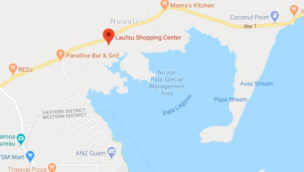 Laufou and the surrounding land on Google maps