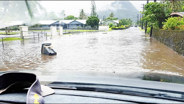 A huge pool of water, on the road fronting The Church of Jesus Christ of Latter-day Saints in Ottoville