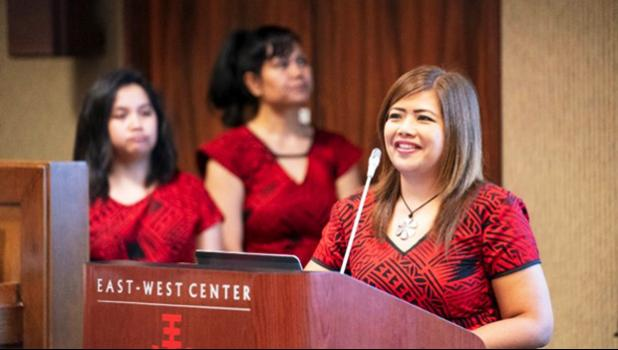 Rodalyn Gerardo (Guam), at podium, Sherlyn Reynold (Chuuk) and Katrina Hunkin-Seumanutafa (American Samoa)