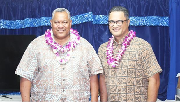 Governor-elect, Lt. Gov. Lemanu Palepoi Sialega Mauga and lieutenant governor-elect, Talauega Eleasalo Alo.
