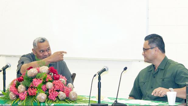 Gov. Lemanu Peleti Palepoi Sialega Mauga (left) and Lt. Gov. Talauega Eleasalo V. Ale (right)