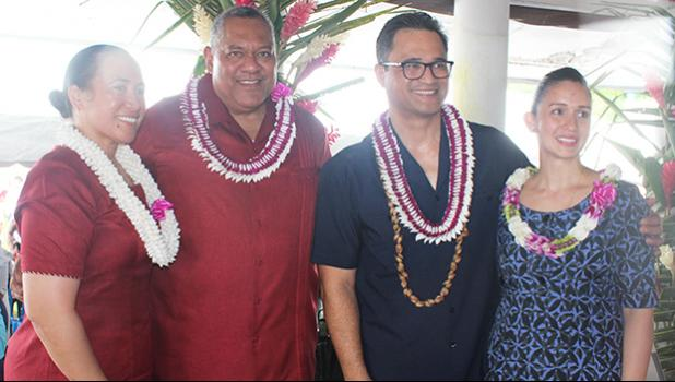 [l-r] Mrs. Ella Failautusi Gaea Mauga, with her husband, Lt. Gov. Lemanu Peleti Palepoi Sialega Mauga, candidate for governor; along with former Attorney General Talauega Eleasalo Va'alele Ale and his wife Marian McGuire Ale,