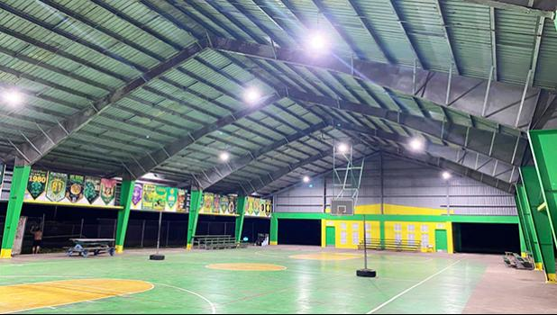 Leone gym with new lights on