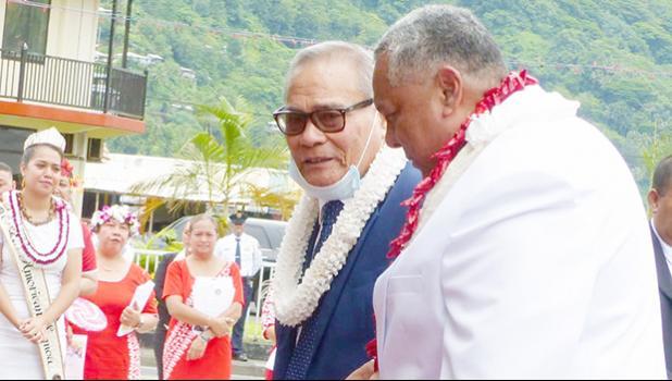 Gov. Lolo Matalasi Moliga (left) and. Lemanu Peleti Palepoi Sialega Mauga