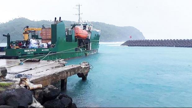 MV Manu'atele near the dock in Ofu