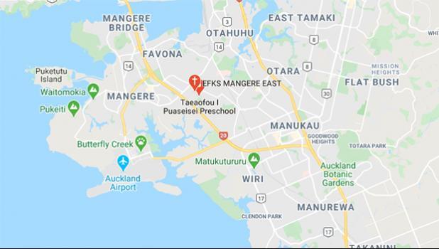 Map showing Māngere East