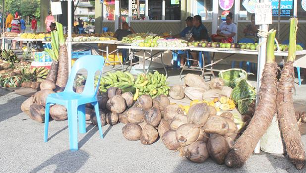 Fruits and vegetables for sale at Fagatogo Market Place