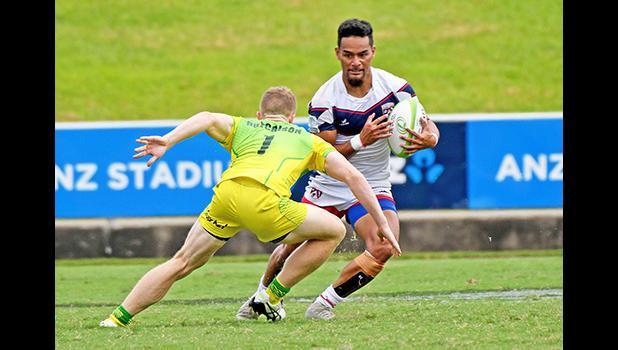 Talavalu ball possesion in their 66-0 loss to Australia