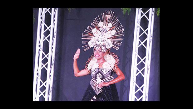 Your new Miss Pacific Islands, Miss Fiji, Anne Dunn who took the crowd in her beautifully designed cultural dress.   (Photo THA)