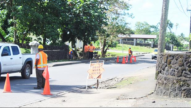 Workers from Silva Construction at the Fagaima Road